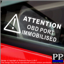 5 x OBD Port Disabled Stickers-30mmx87mm-Security Window Warning Signs-Van,Lorry,Truck,Taxi,Bus,Mini Cab,Minicab-On Board Diagnostics Port Immobilsed